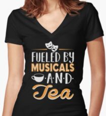 Fueled by Musicals and Tea Women's Fitted V-Neck T-Shirt