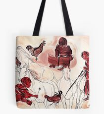 Children Playing Horses Chicken Composition Painting Tote Bag