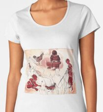 Children Playing Horses Chicken Composition Painting Women's Premium T-Shirt