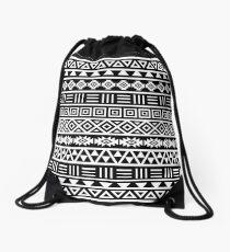 Aztec Influence Pattern II White on Black Drawstring Bag