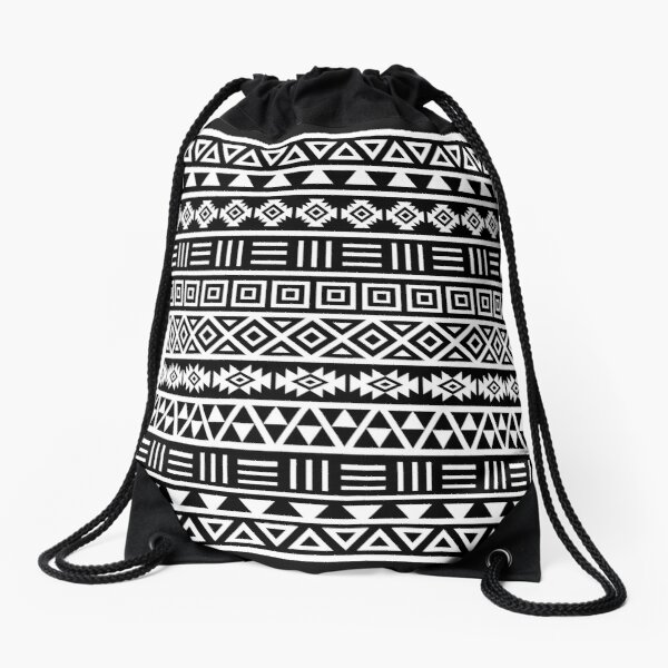Aztec Influence Pattern II White on Black Drawstring Bag