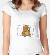 Geeky bear playing his old gameconsole Women's Fitted Scoop T-Shirt