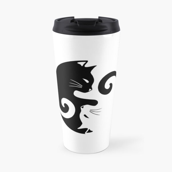 Ying Yang Cats - Black & White Travel Mug