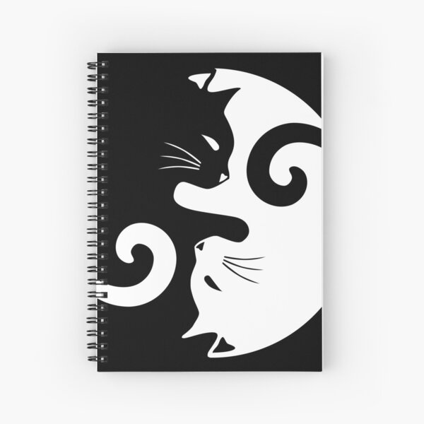 Ying Yang Cats - Black & White Spiral Notebook