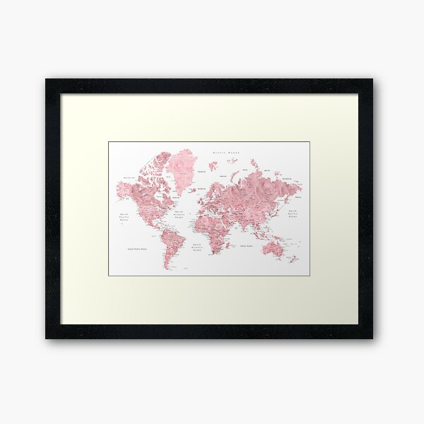 Light pink and muted pink world map with cities Framed Art Print