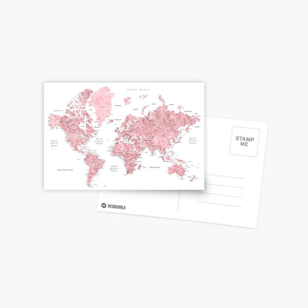 Light pink and muted pink world map with cities Postcard