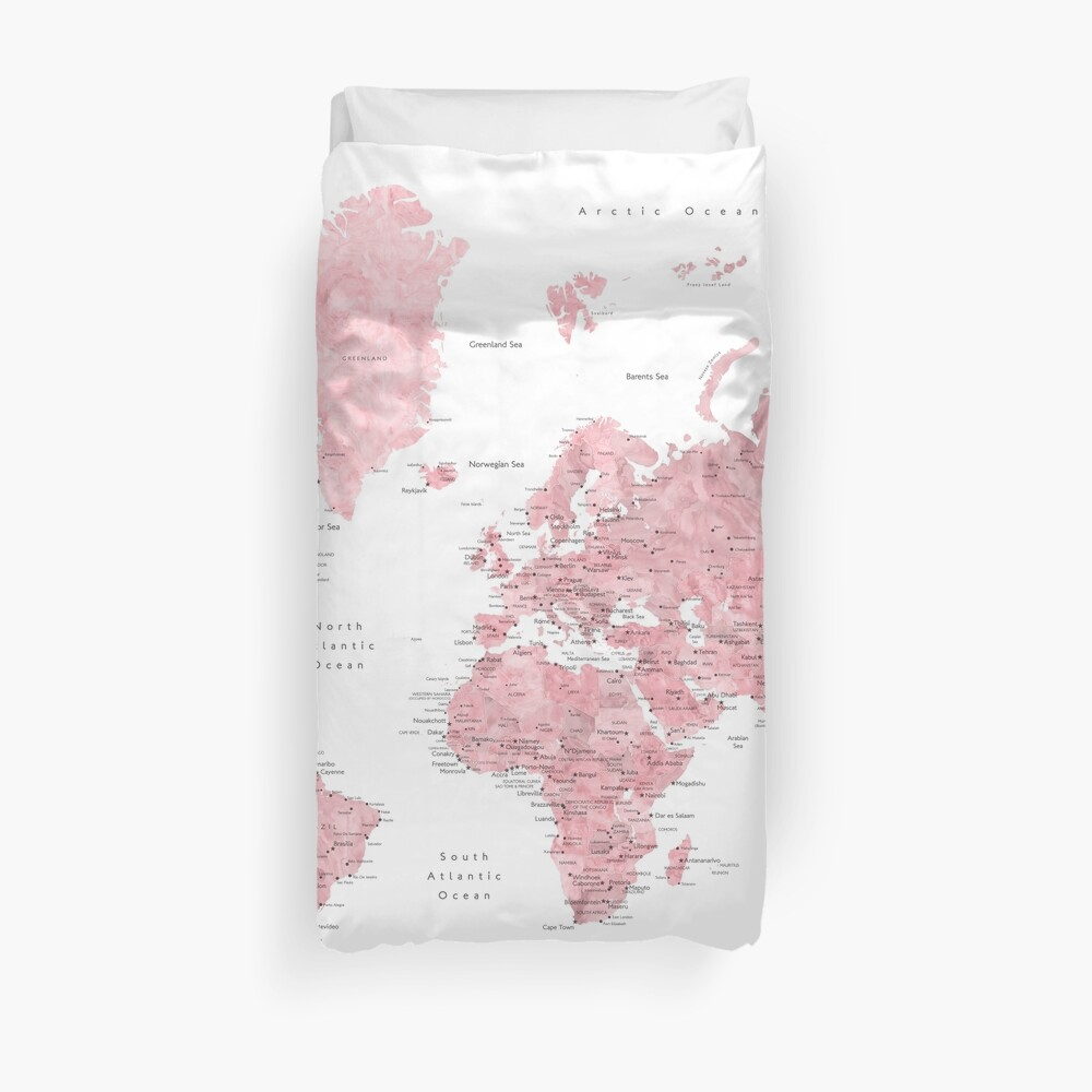 Light pink and muted pink world map with cities Duvet Cover