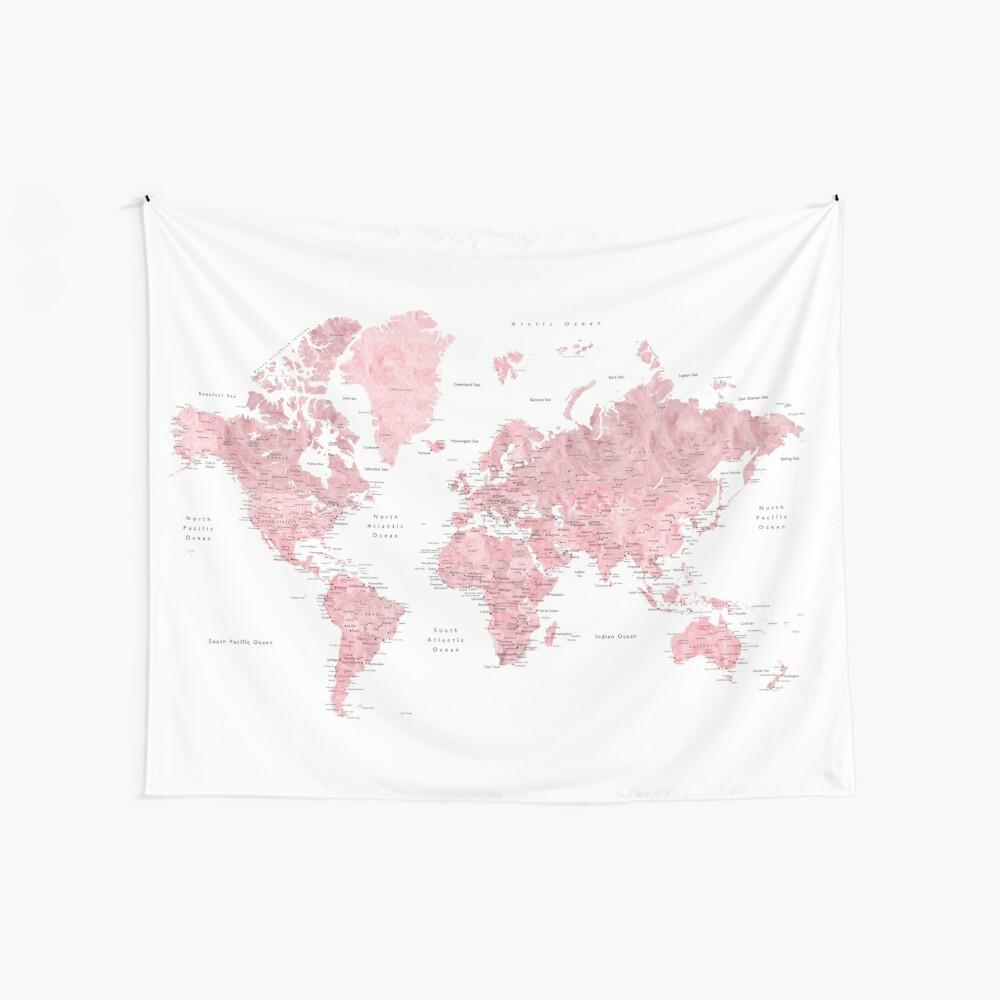 Hellrosa und gedämpfte rosa Weltkarte mit Städten Wandbehang
