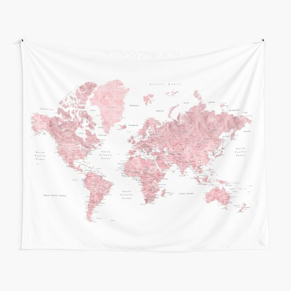 Light pink and muted pink world map with cities Tapestry