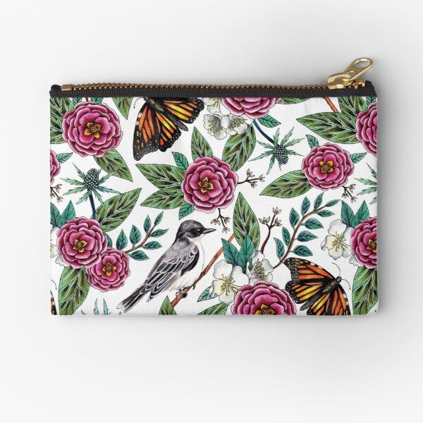 Birds & Butterflies - Pink & Green Floral/Botanical/Nature-Inspired Pattern Zipper Pouch