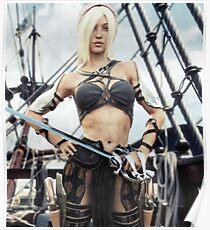 Portrait of a blonde Pirate female Poster