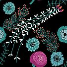 pink and turquoise flowers on black von Constanze  Guhr
