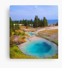 Yellowstone Lake, Hotsprings and Elk Canvas Print