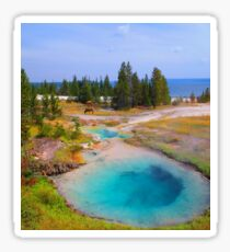 Yellowstone Lake, Hotsprings and Elk Sticker