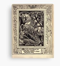 Spenser's Faerie queene A poem in six books with the fragment Mutabilitie Ed by Thomas J Wise, pictured by Walter Crane 1895 V1 339 - The Knight with that Old Dragon Fights Canvas Print