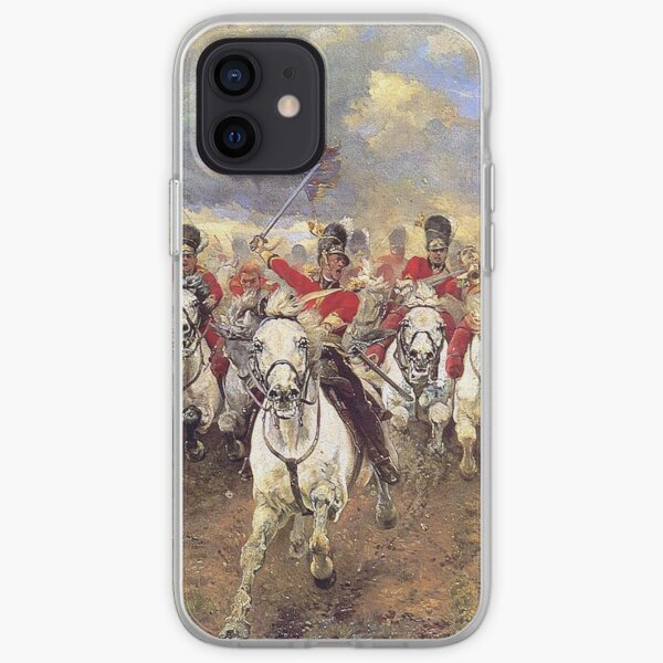 Scotland Forever! 1881, Battle of Waterloo, Lady Butler, Charge of the Royal Scots Greys. iPhone Soft Case