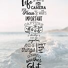 Life is Like a Camera Travel Photography Quote // Beach + Ocean Waves Background by ZirkusDesign