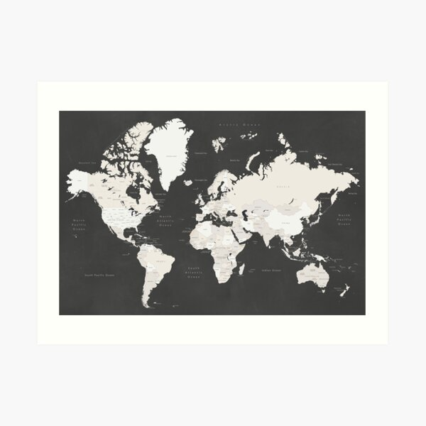 Chalkboard world map with countries and states labelled Art Print