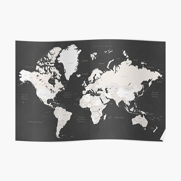 Chalkboard world map with countries and states labelled Poster