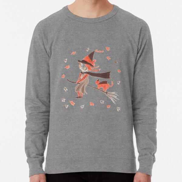 Cute Witch and Cat Illustration Lightweight Sweatshirt