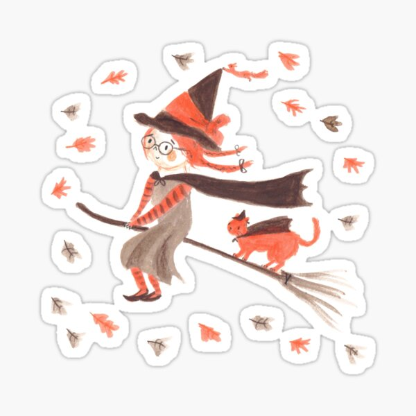 Cute Witch and Cat Illustration Sticker