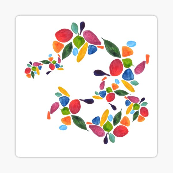 Leaves and Petals in Rainbow Sticker