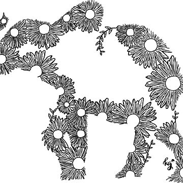 Floral Elephant Outline by irishkate