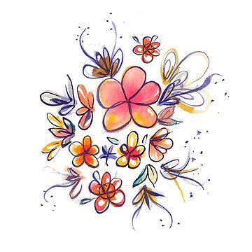 Cálidas flores de acuarela de skinnyginny