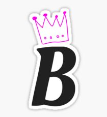 Letter B Initial With Crown Sticker