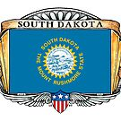 South Dakota Art Deco Design with Flag by Cleave
