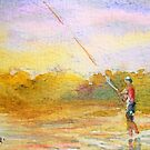 Fishing at the edge of the world, Original ACEO Watercolor Painting id1340866 by Almondtree