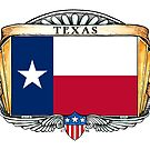 Texas Art Deco Design with Flag by Cleave