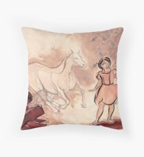Girl with Horse Illustration Throw Pillow