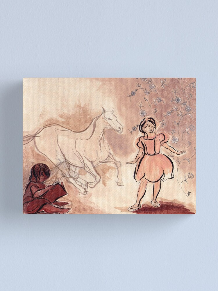 Alternate view of Girl with Horse Illustration Canvas Print