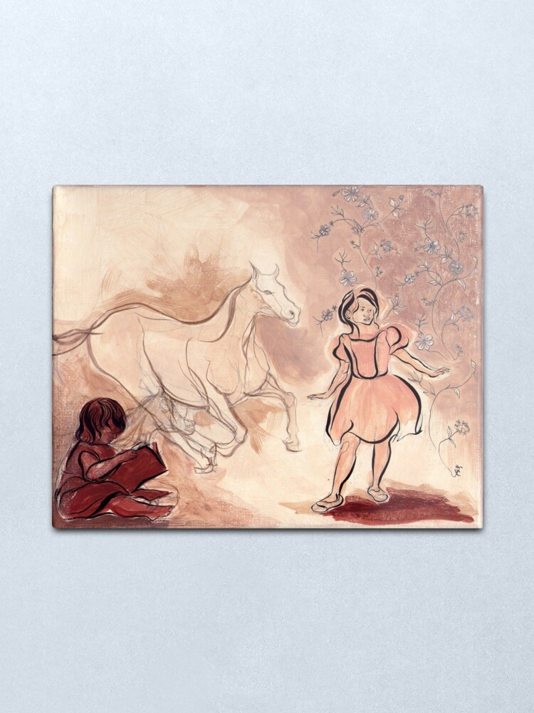 Alternate view of Girl with Horse Illustration Metal Print