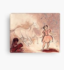 Girl with Horse Illustration Canvas Print