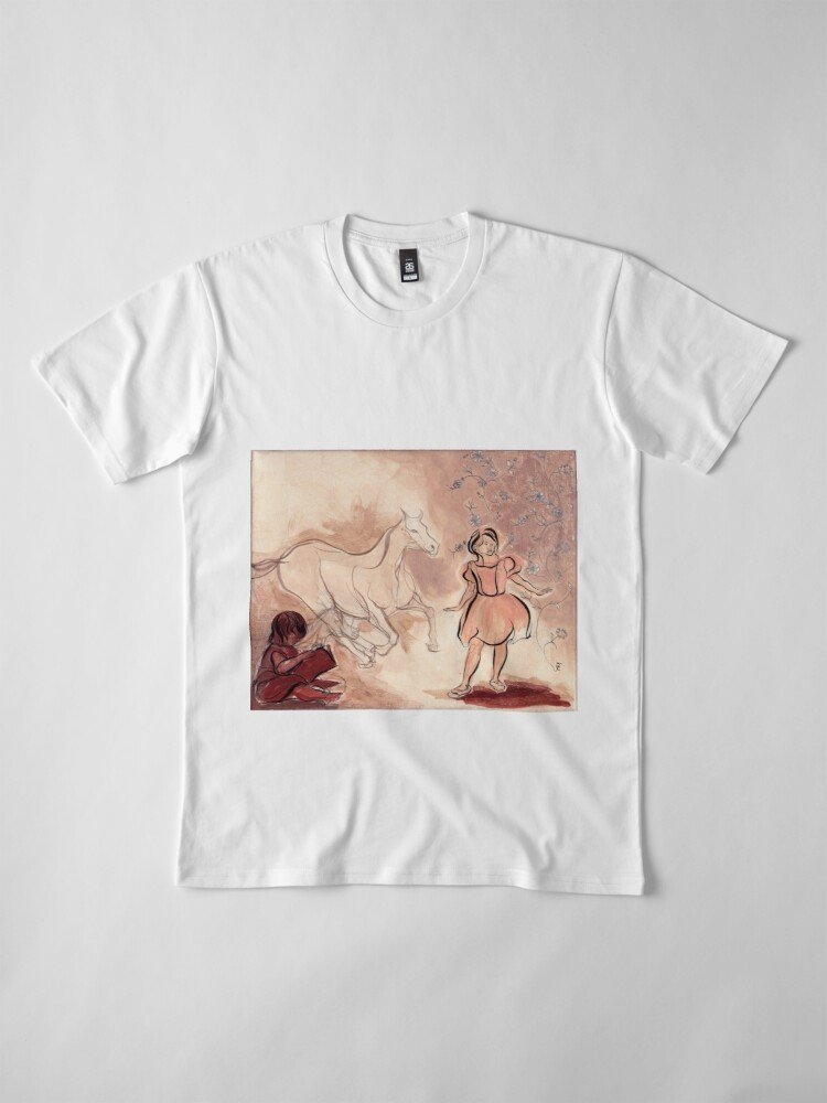 Alternate view of Girl with Horse Illustration Premium T-Shirt