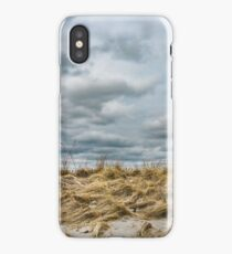 Sandy dune grass with stormy sky. iPhone Case
