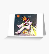 Space Cat Print Greeting Card
