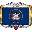 Utah Art Deco Design with Flag by Cleave