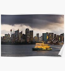 A stormy sky over Sydney city and harbour Poster