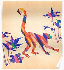 Exotic Monkey Paintbrush Rainbow Collage Poster
