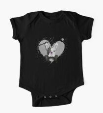Frenchie: French Bulldog W/ Love Heart and Black Bow Tie One Piece - Short Sleeve