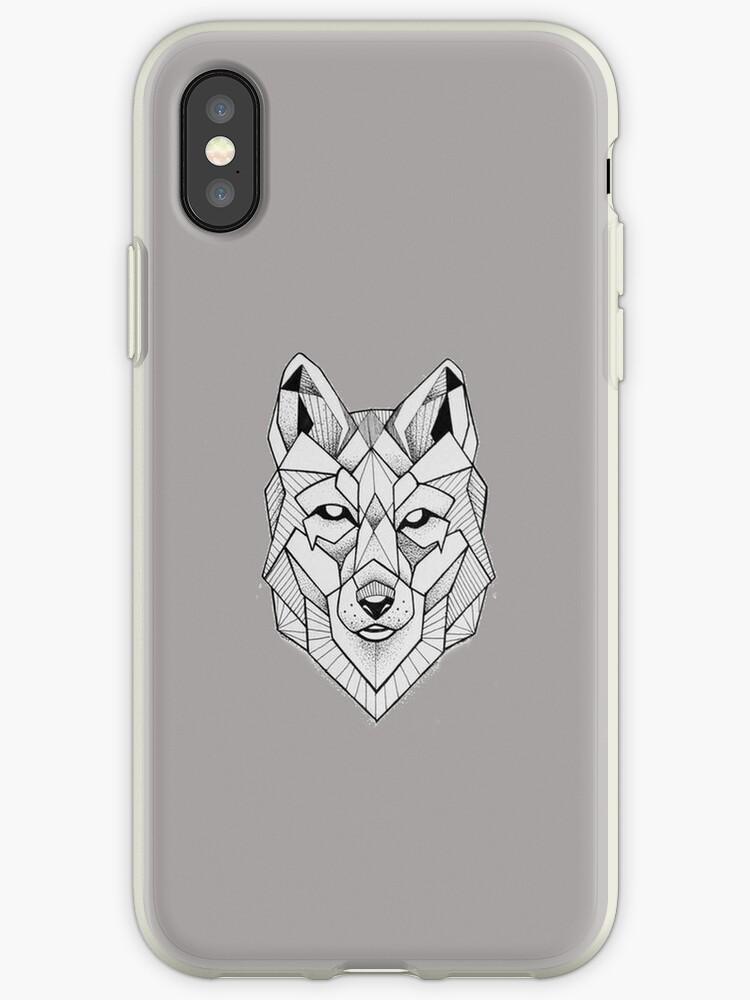 Geometric Wolf Face Art Iphone Case By Jennifer Aron