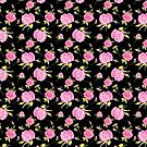 Pink Roses on Black by elee