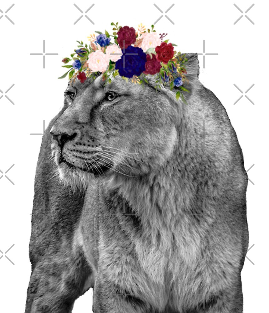 Black white noir lioness with flower crown by colorflowart redbubble black white noir lioness with flower crown by colorflowart izmirmasajfo