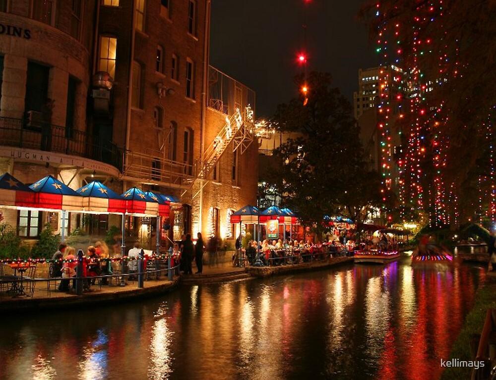 San Antonio Riverwalk During Christmas.San Antonio River Walk At Night During Christmas Holidays
