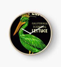 Reloj King Pelican California Lettuce - Vintage Produce Anuncio de póster