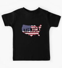 Merica Flag Map America Patriotic 4Th Of July Stars Stripes Usa Veteran T-Shirts Kids Tee