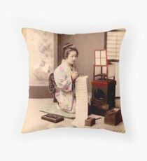 Geisha writing a letter Throw Pillow